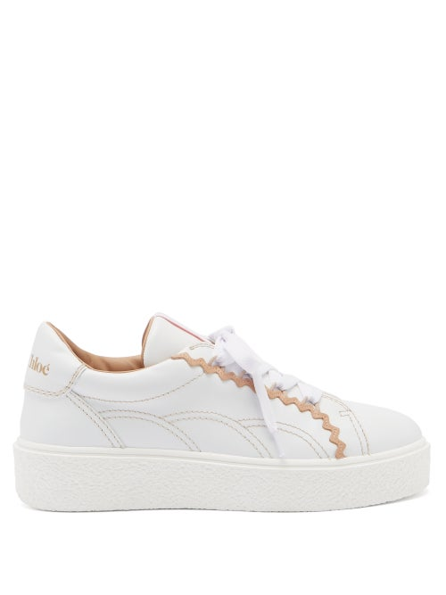 See By Chloé - Sevy Rickrack-trim Raised-sole Leather Trainers - Womens - Pink White