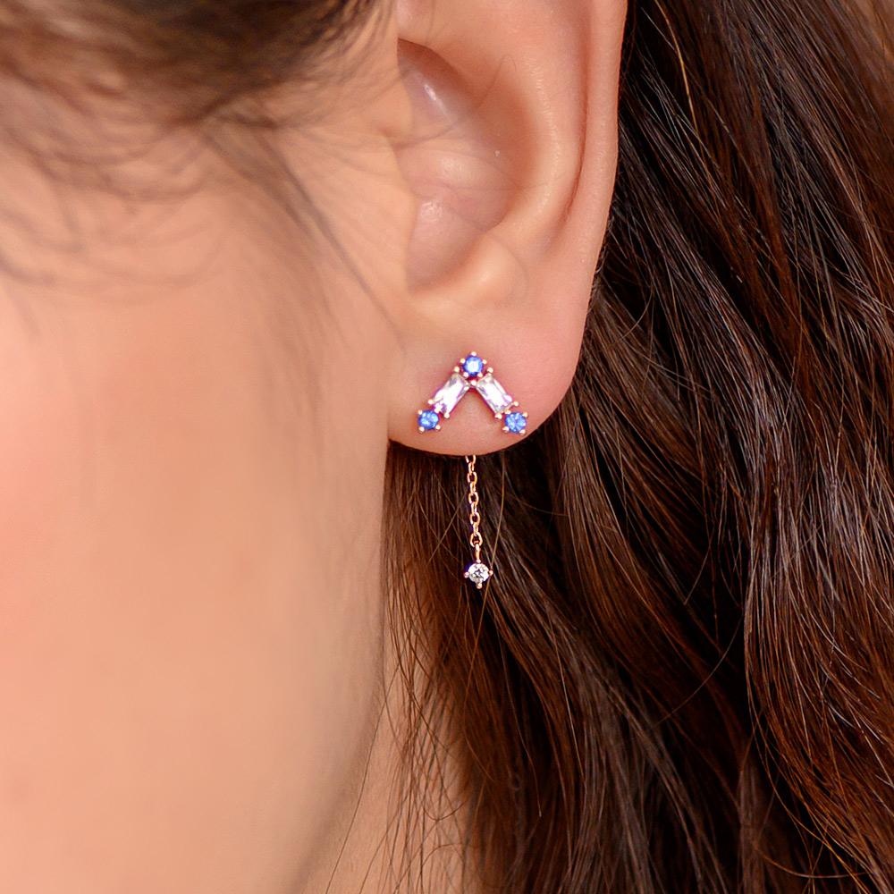 V鑽2way後掛925銀針耳環-A10125