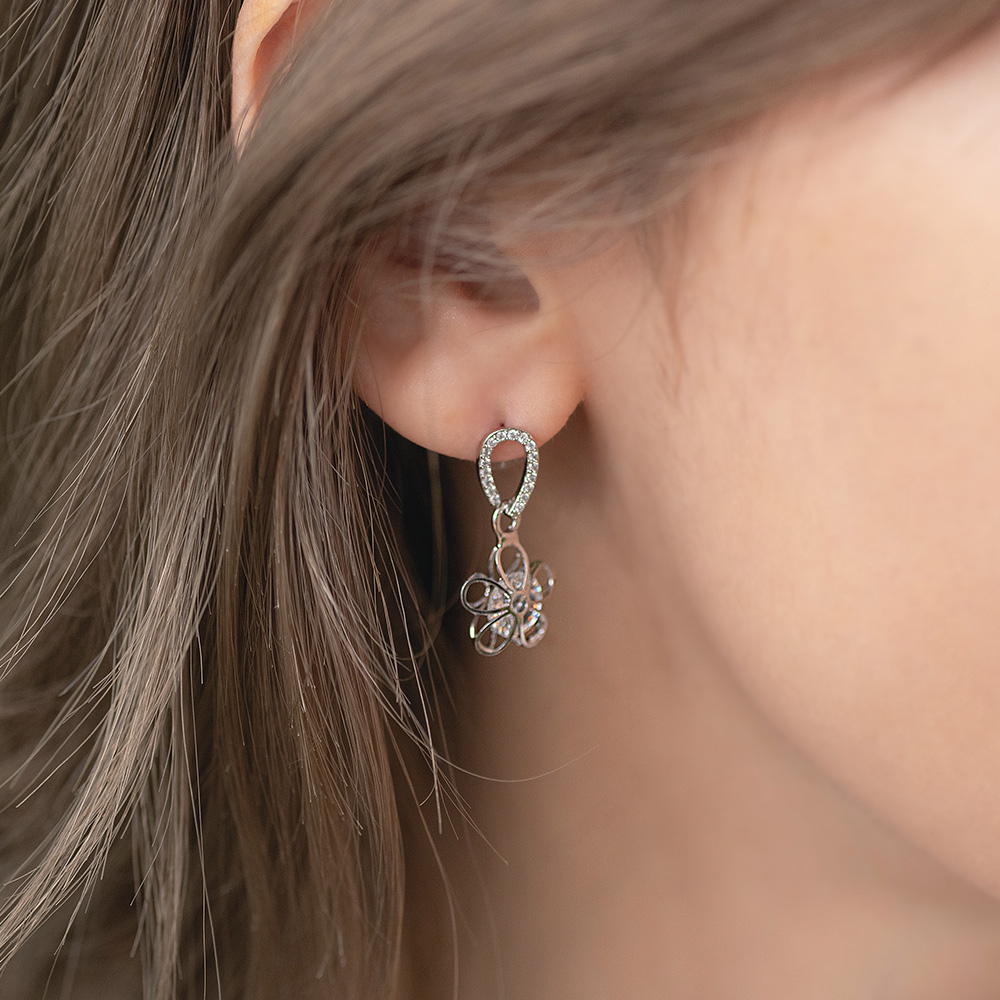 鏤空立體花鑽925銀針耳環(2色)-A10214