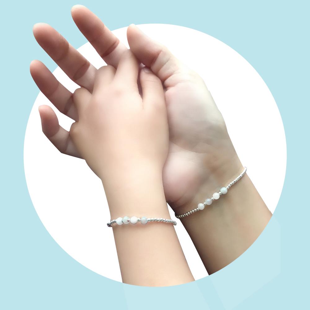 輕甜摩根石串珠925銀親子手鍊禮盒組-E10024