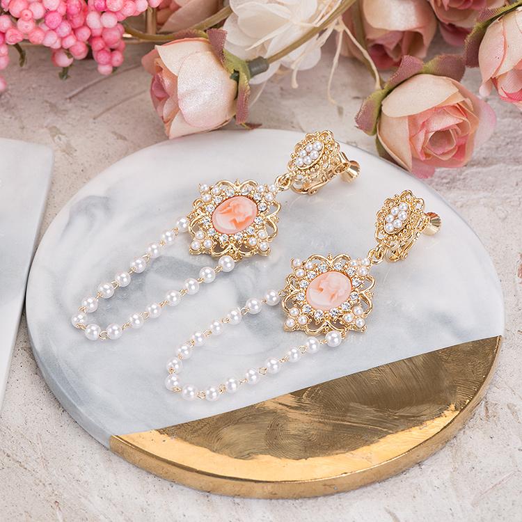 公主的寶石珍珠垂墜耳夾-B10010