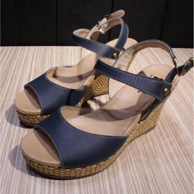 【ㄅㄆㄇGOOD】J014 魚口草編楔形鞋-靛藍(J014)