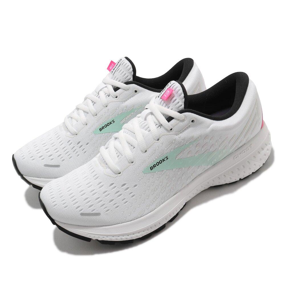 BROOKS 慢跑鞋 Ghost 13 運動 女鞋 路跑 緩震 DNA科技 透氣 健身 球鞋 白 綠 [1203381B103]