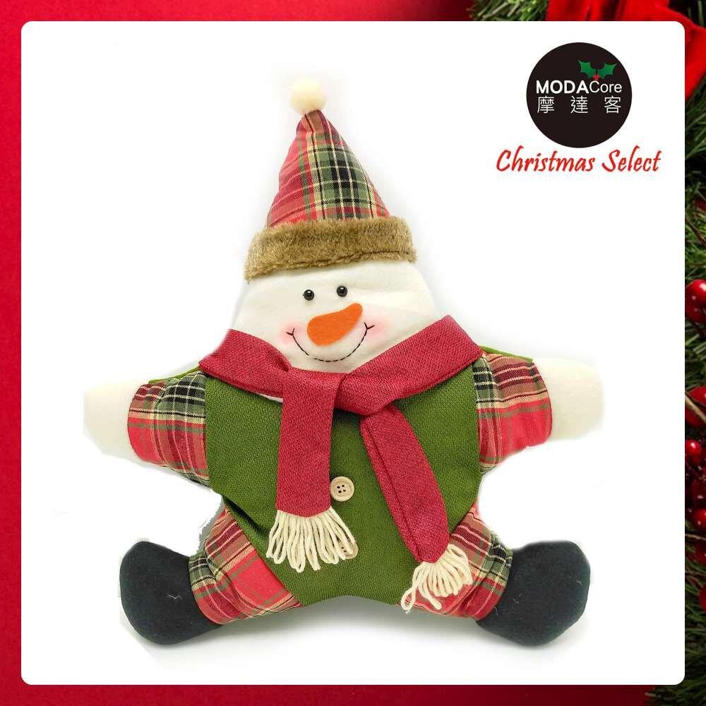 摩達客耶誕-聖誕格紋五角星抱枕靠枕-紅圍巾雪人-交換禮物