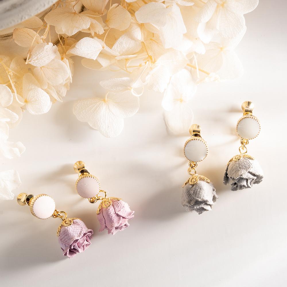 復古垂墜玫瑰花耳夾(2色)-B10204