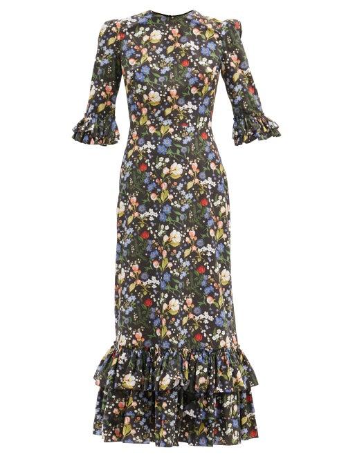 The Vampire's Wife - The Cinderella Floral-print Cotton-poplin Dress - Womens - Black Multi