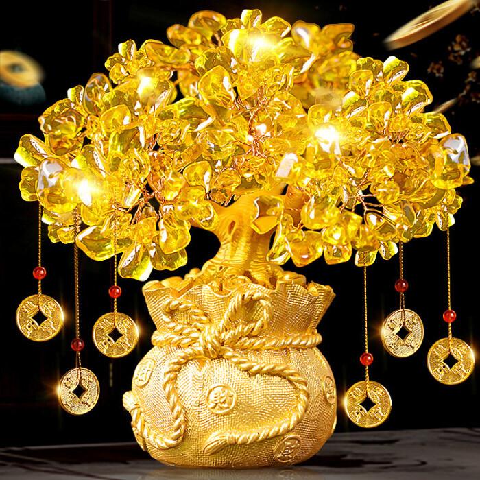 黃水晶發財樹(贈6個招財錢幣)(小號) 招財風水搖錢樹 開運飾品 創意開業禮品