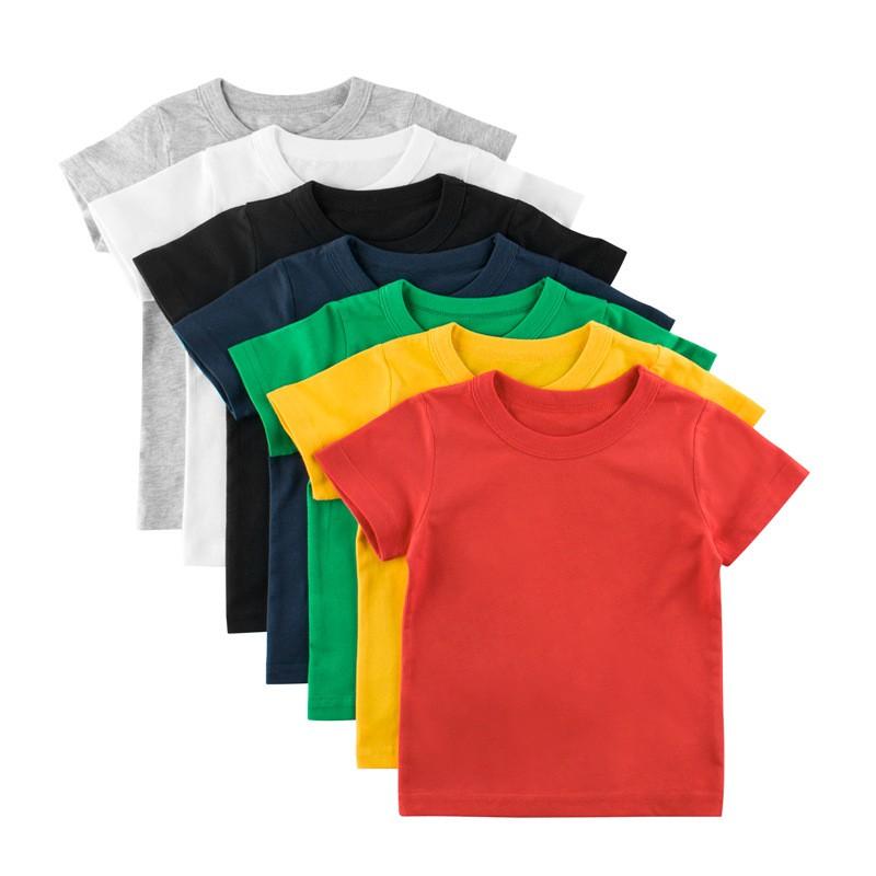 媽咪寶貝童裝夏季2020款 兒童短袖T恤廣告衫定制純色無圖案兒童衣服