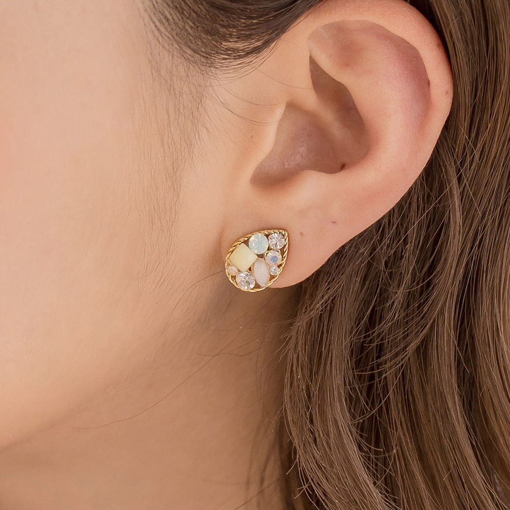 亮眼寶石水滴耳環-A60016