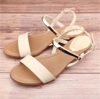 【ㄅㄆㄇGOOD】復古一字帶異材質涼鞋-米杏(D004)