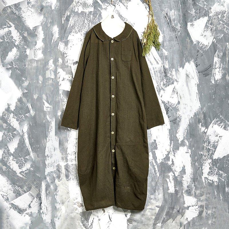 RE_心房小口袋圓襯衫領及踝洋裝