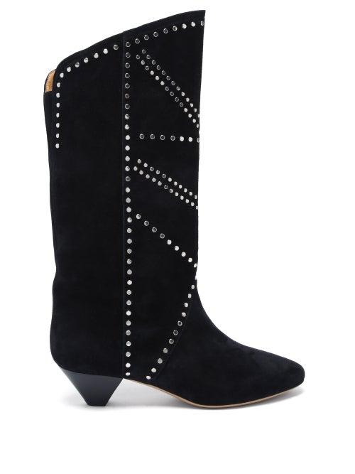 Isabel Marant - Darka Studded Cone-heel Suede Boots - Womens - Black
