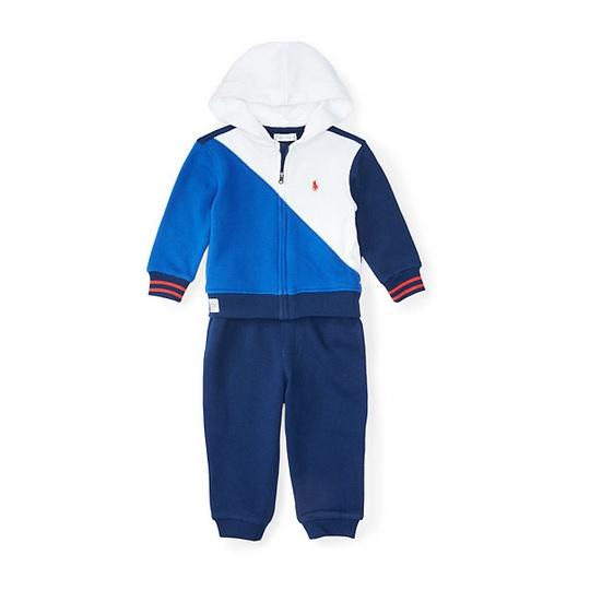 套裝二件組 純棉連帽薄外套+長褲 白藍拼接 男寶寶 | Polo Ralph Lauren【RA85165816WHI】BA0103