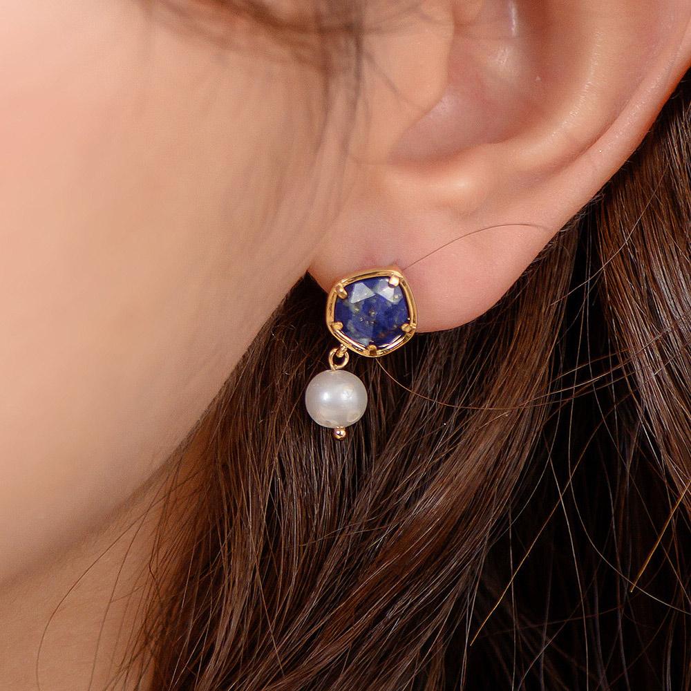 輕寶石小珍珠垂墜925銀耳針耳環(2色)-A10070