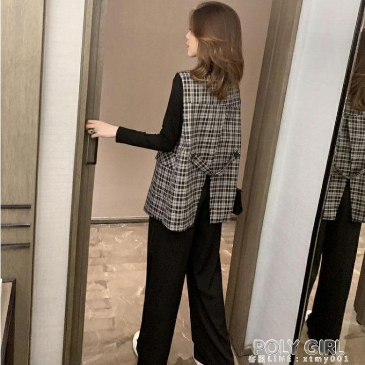 新年鉅惠▶風衣外套 輕熟風馬甲外套女2020春秋季新款設計感復古風衣開叉寬鬆格子上衣