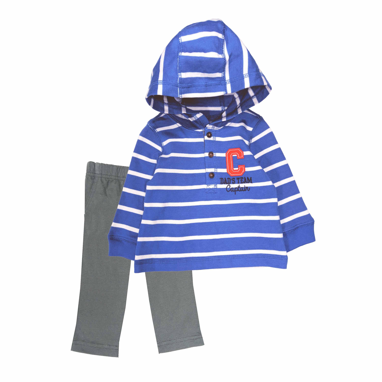 長袖套裝二件組 薄連帽上衣+長褲 藍白橫條 男寶寶 | Carter's 卡特【CA249G261】CB020201