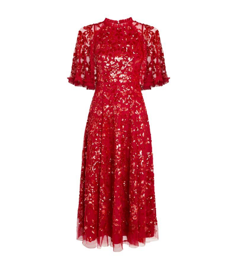 Needle & Thread Sequin-Embellished Shirley Ribbon Caped Midi Dress