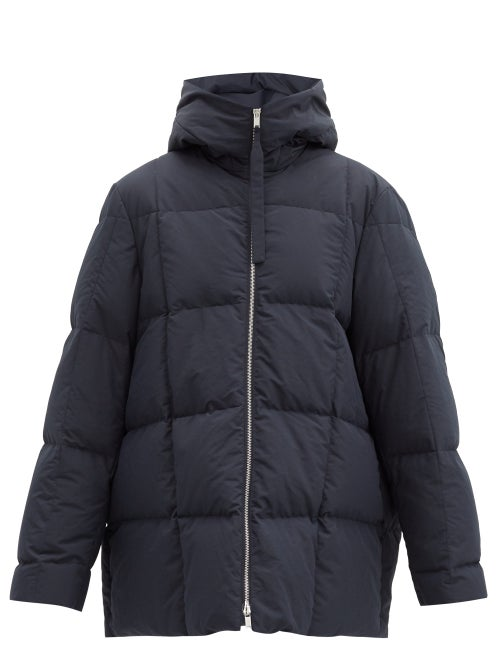 Jil Sander - Longline Down-filled & Padded Hooded Coat - Womens - Dark Blue
