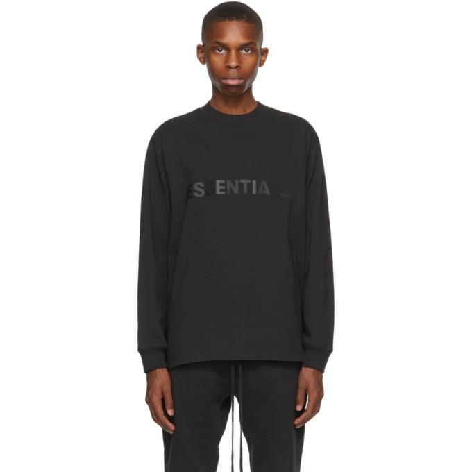 Essentials 黑色徽标长袖 T 恤