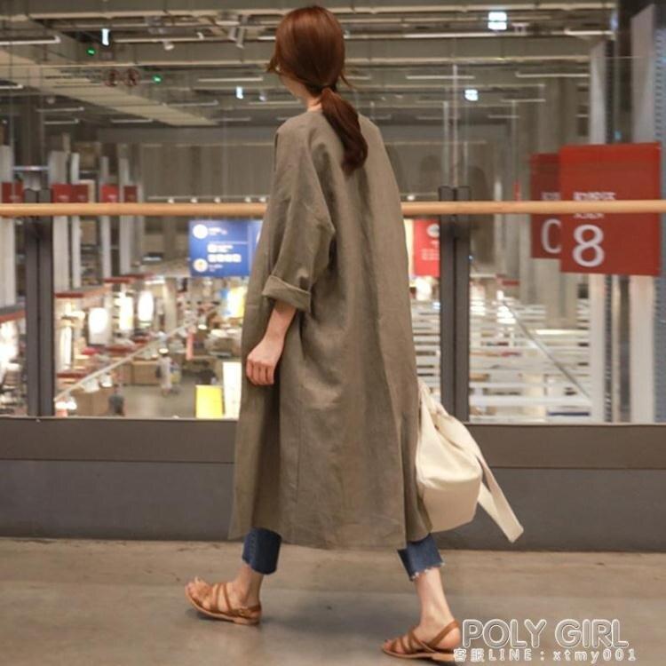 新年鉅惠▶風衣外套 韓國東大門春秋風衣女長款過膝薄款披肩寬鬆外搭夏季棉麻薄外套衫
