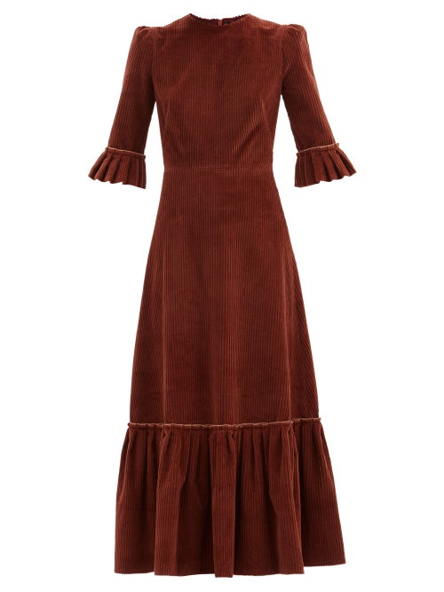 The Vampire's Wife - The Festival Jumbo-cord Cotton Midi Dress - Womens - Mid Brown