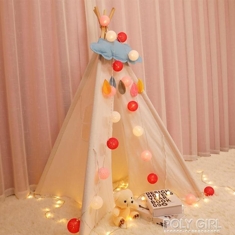 新年鉅惠▶LED棉球燈串兒童帳篷裝飾手工室內馬卡龍棉線球燈小彩燈網紅花束