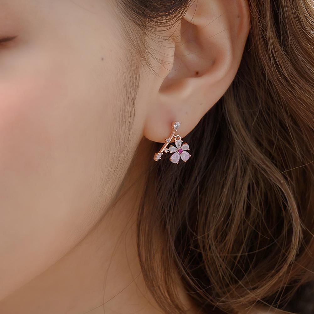 粉晶花朵枝葉925銀耳針耳環-A10087