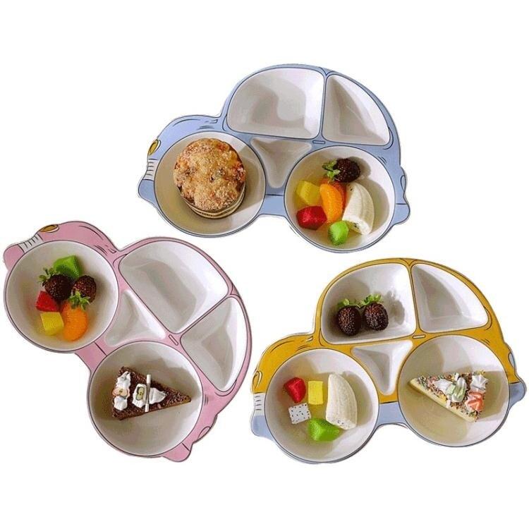 碗碟套裝 寶寶汽車餐盤兒童餐具陶瓷創意飯盤卡通水果盤子碗家用分隔分格盤[優品生活館]