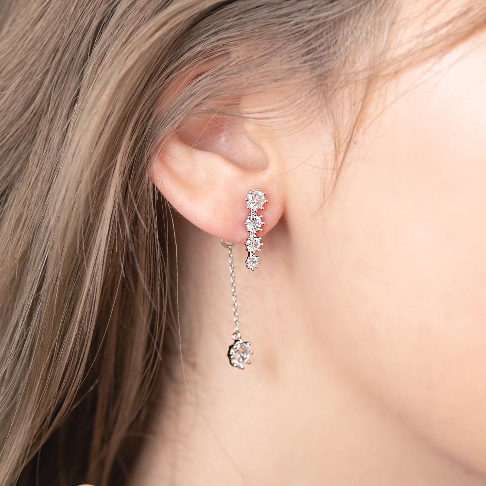 流星一字排鑽後掛式925銀針耳環(2色)-A10207