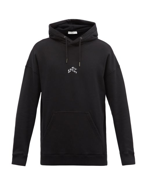 Givenchy - Refracted Embroidered Cotton Hooded Sweatshirt - Mens - Black