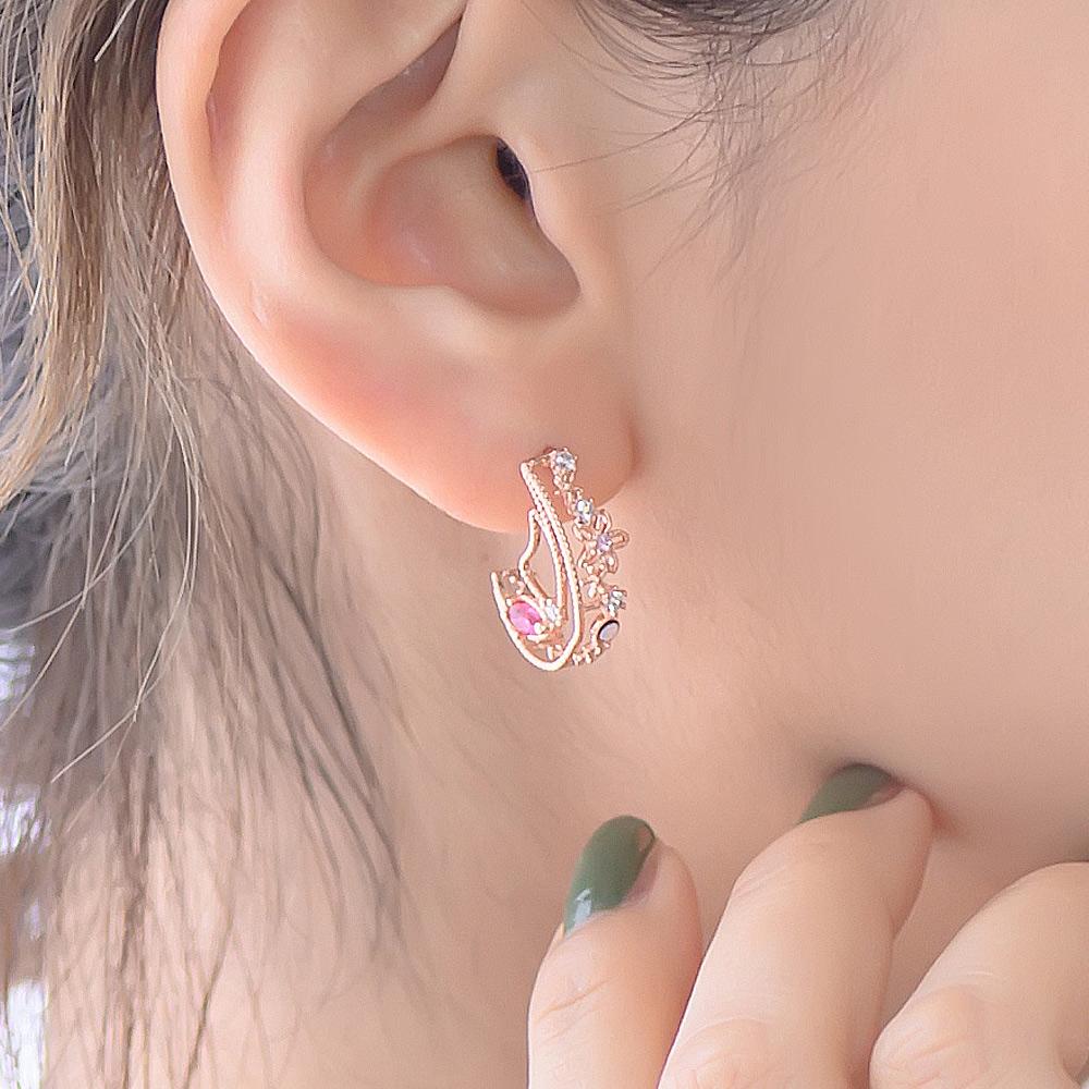 鏤空雕花寶石小蝴蝶925銀耳針耳環(2色)-A10085