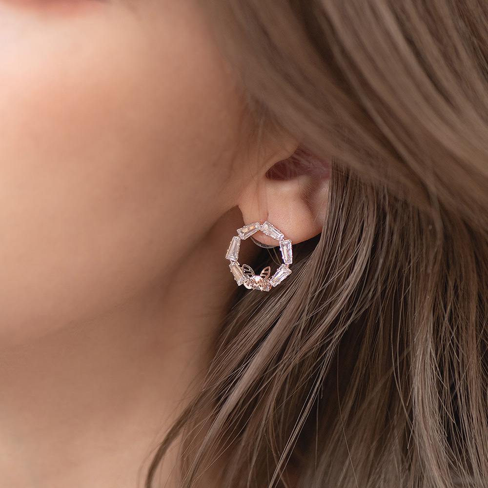 鏤空蝴蝶環鑽925銀針耳環-A10183