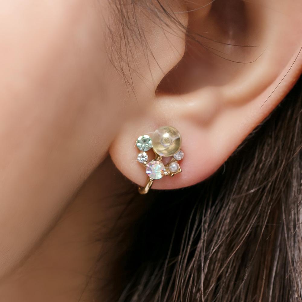 夢幻氣泡鋯石耳夾(2色)-05385