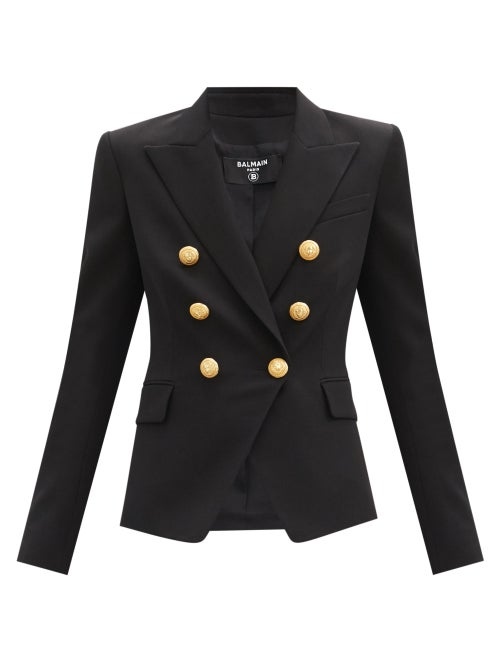 Balmain - Double-breasted Cotton-twill Blazer - Womens - Black