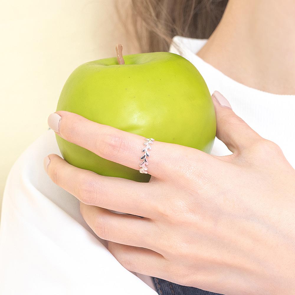 雅典娜的桂冠花圈925銀開口戒指-C10020