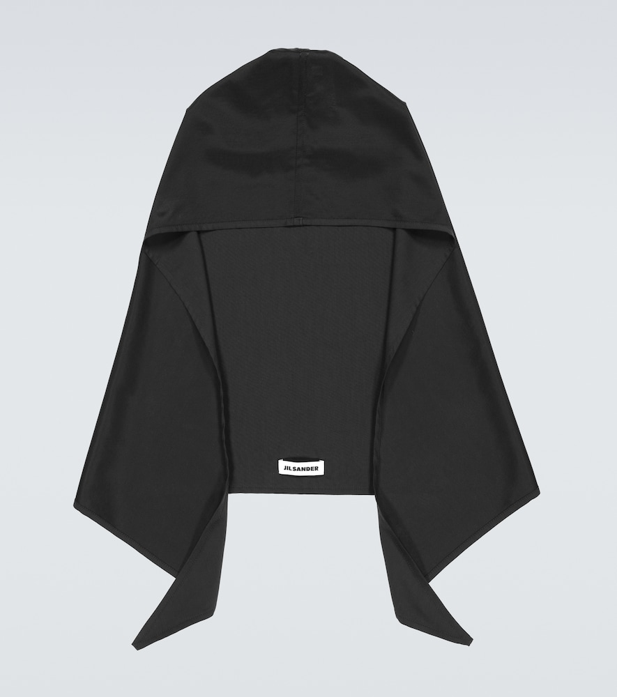 Hooded cotton-blend scarf