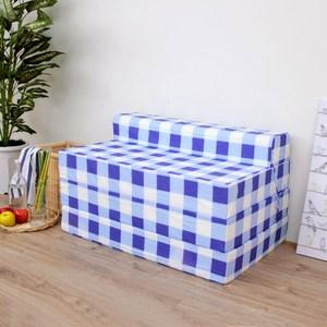 【頂堅】四折式沙發床/沙發椅-坐高30床長200/公分(藍白方格)藍白方格