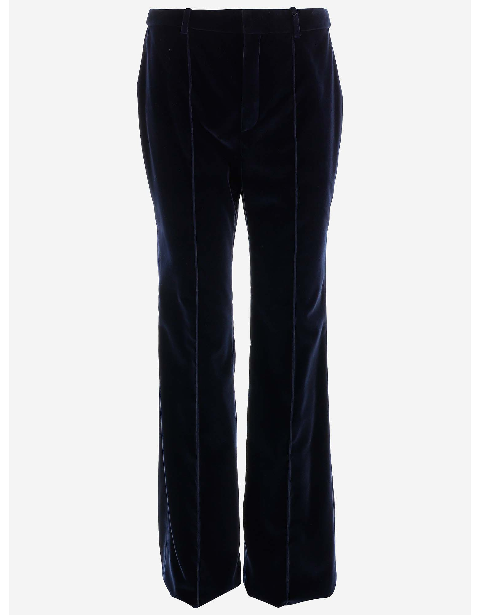 Yves Saint Laurent 伊夫圣罗兰 Pants, Deep Blue Velvet Women's Flare Pants