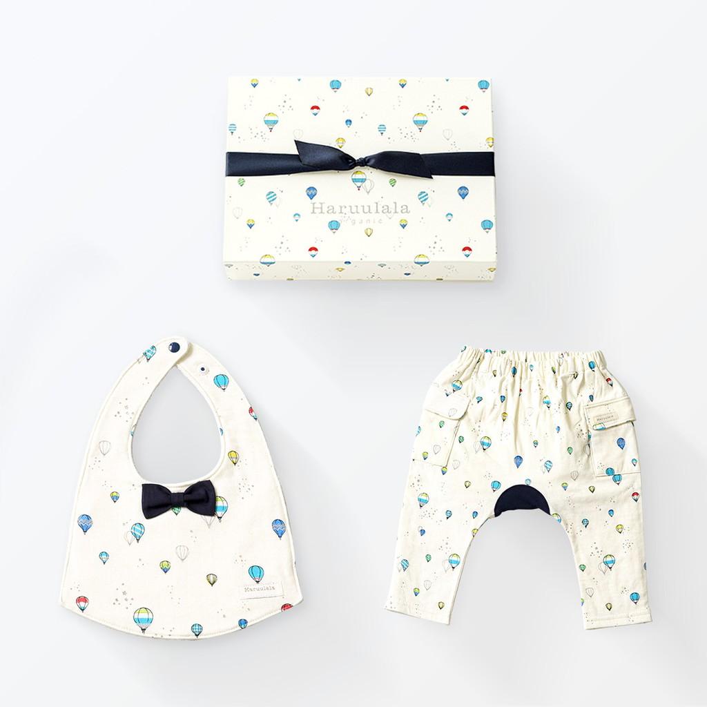 日本Haruulala【 圍兜+褲子】有機棉 / 免費繡字 / 男寶新生兒禮盒 / 現貨在日本(空運7~10天)