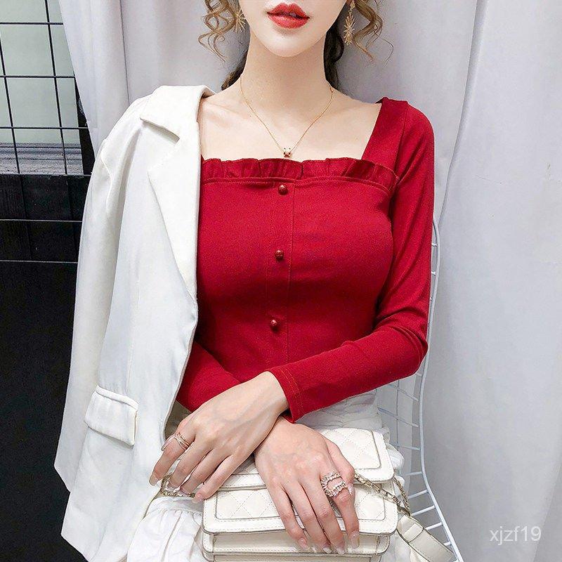 上衣新款修身方領2020女裝顯瘦純棉荷葉邊長袖洋氣秋季T卹百搭