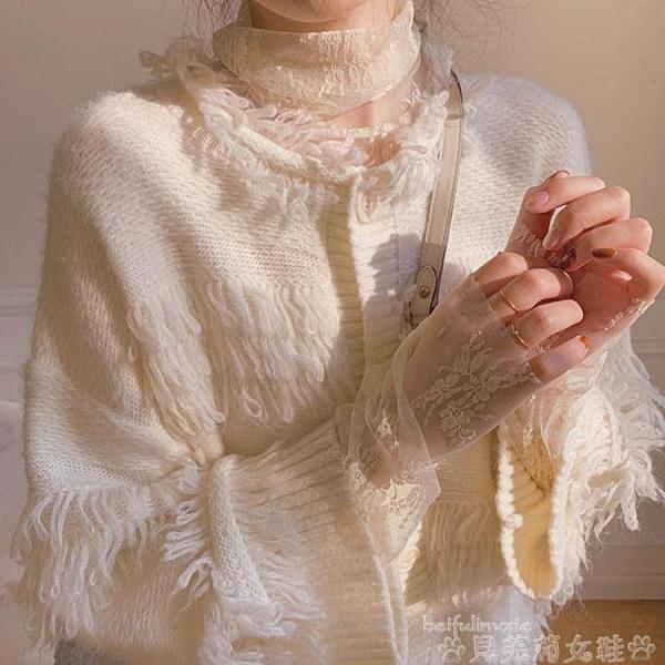 定制仙女網紗長袖上衣超仙高領蕾絲打底衫女秋冬洋氣內搭 貝芙莉