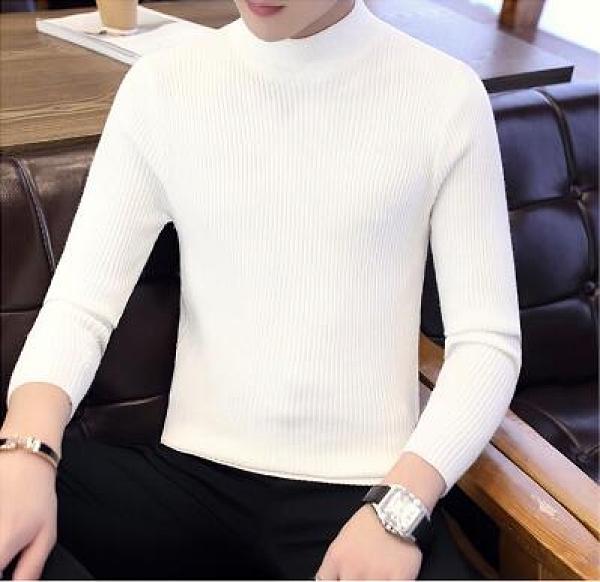 秋冬季長袖t恤男士半高領修身毛衣男裝衣服潮流打底衫線衣針織衫