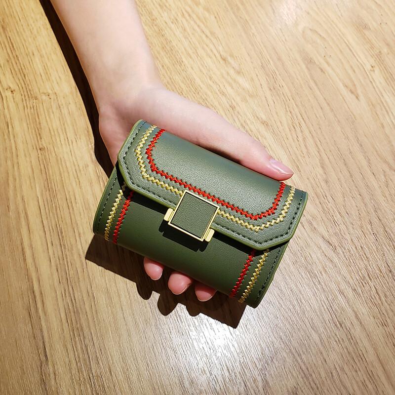 新款韓版多卡位卡包女短款復古拉鏈錢包百搭錢夾女硬幣零錢包