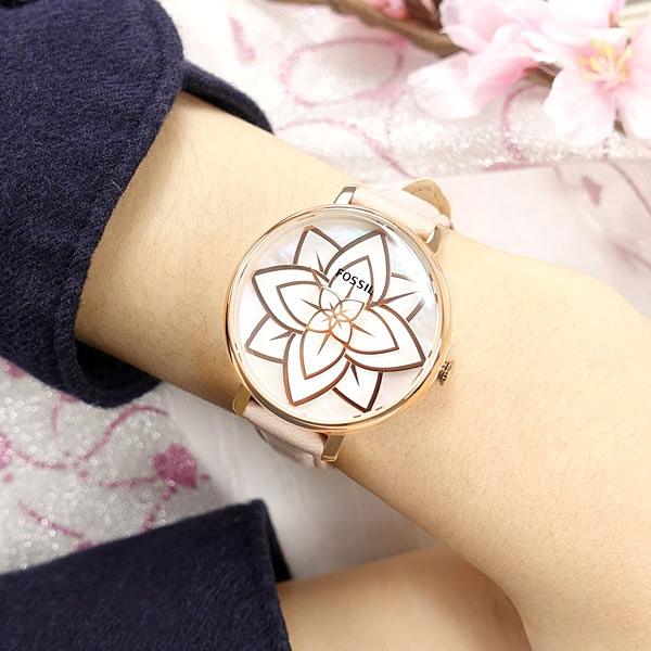 FOSSIL / ES4932 / Jacqueline 珍珠母貝 花漾時尚 礦石強化玻璃 真皮手錶 銀白x玫瑰金框x粉膚 36mm