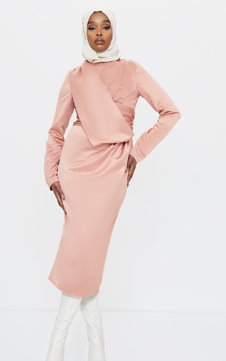 Blush Satin Pleated Drape Detail Midi Dress