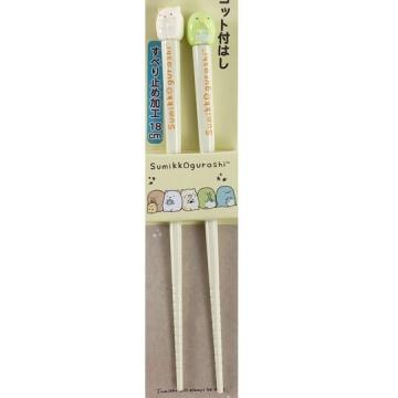 小禮堂 角落生物 造型塑膠筷 造型筷 環保筷 筷子 18cm (綠黃 坐姿)