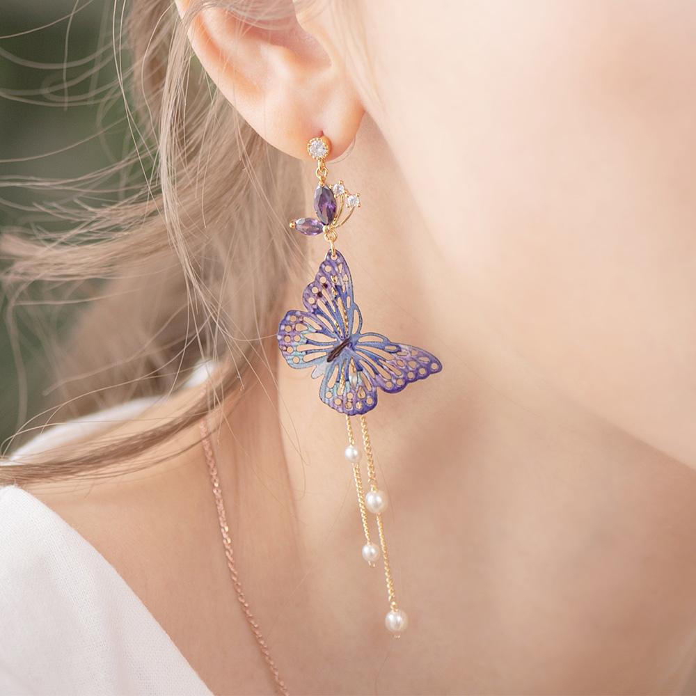 炫彩紫晶蝴蝶不對稱925銀針耳環-A10251