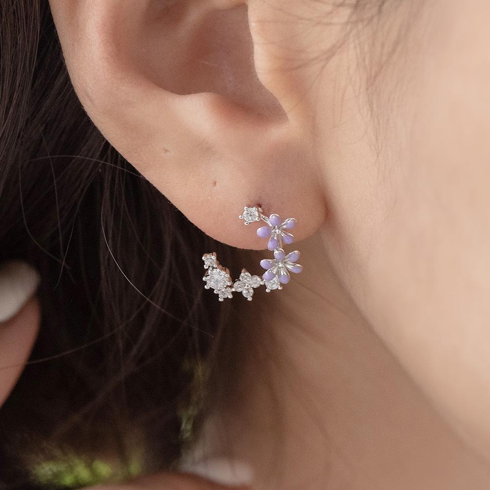清甜紫花花鑽925銀針耳環(2色)-A10282