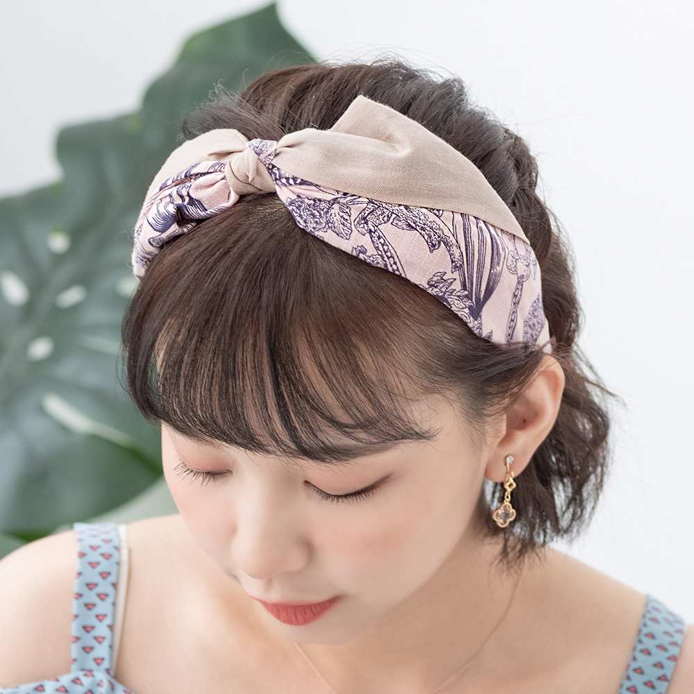 雙色拼接圖騰寬版蝶結髮箍-H10078