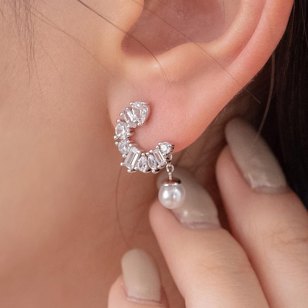 法式珍珠C圈後掛式925銀針耳環(2色)-A10173